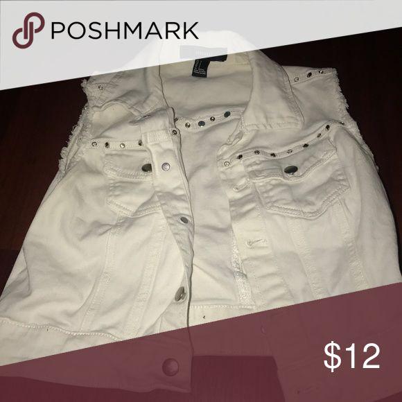 Jean Vest White jean vest with studs Tops
