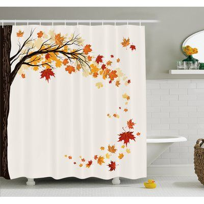Ambesonne Fall Leaf Group Motion In Mother Earth Transition From Summer To Winter Decor Shower Curtain Set Size 84 H X 69 W
