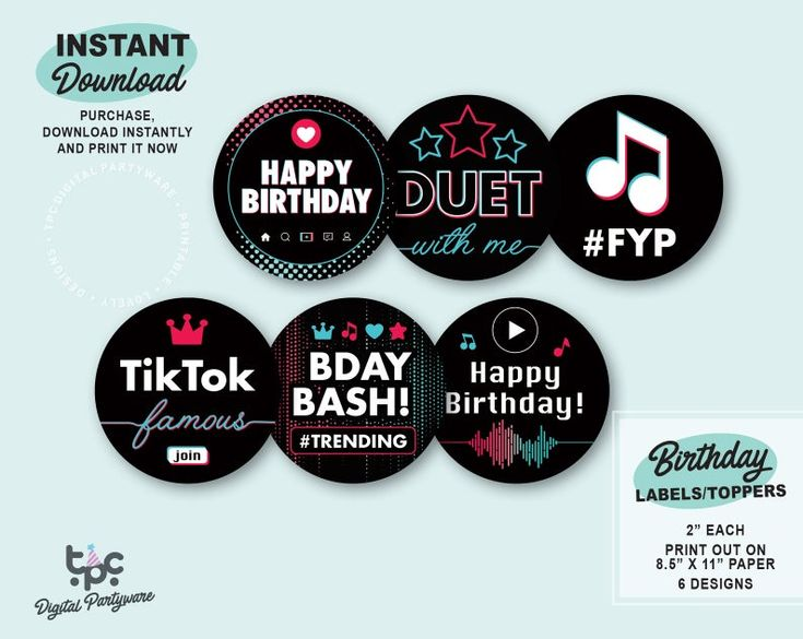 Tiktok Inspired Labels Printable Tiktok Toppers Musical Etsy In 2021 Birthday Labels Printable Labels Party Labels