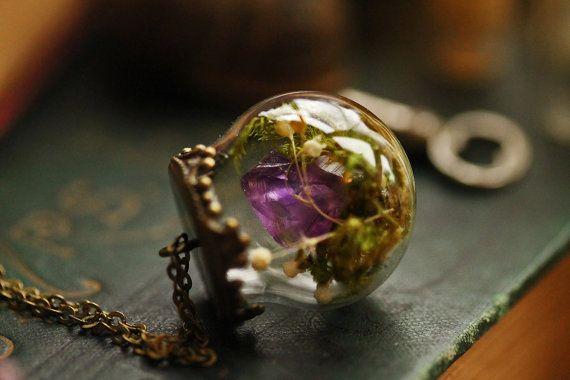 Amethyst terrarium necklace  crystal pendant by RubyRobinBoutique