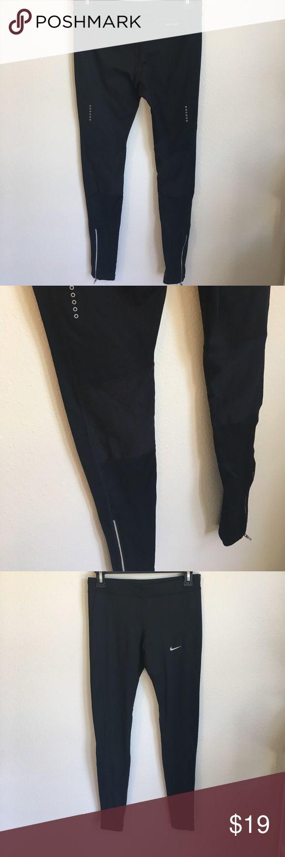 Nike Full Length Running Tights Nike Pro black full length women's running tights. Mesh on back of knees, zipper ankles and reflective. Pocket on back. Never been worn. Nike Pants Leggings