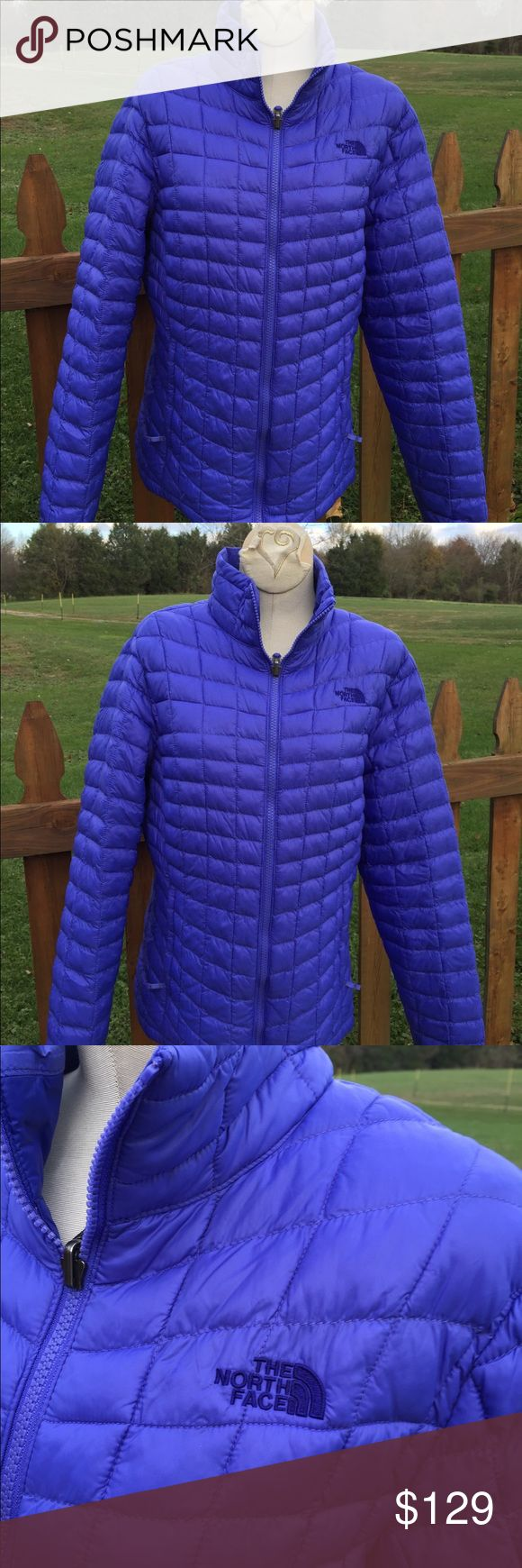 The North Face Thermoball Jacket Size Large Size large. Purplish/bluish color. . Super gently preowned. Be sure to view the other items in our closet. We offer  women's, Mens and kids items in a variety of sizes. Bundle and save!! We love reasonable offers!! Thank you for viewing our item!! The North Face Jackets & Coats