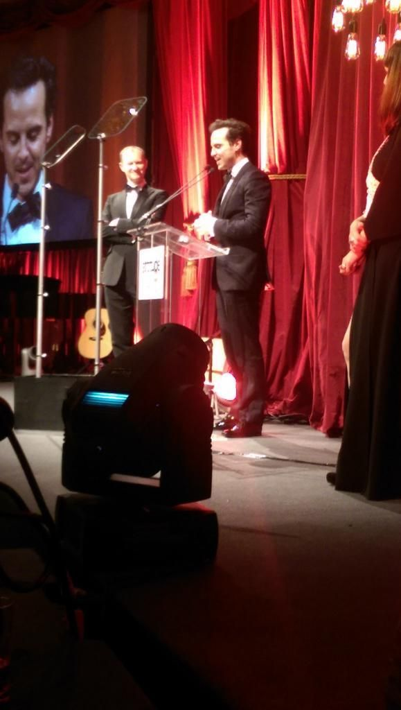 Andrew Scott winning attitude awards style and culture award presented to him by Mark Gatiss