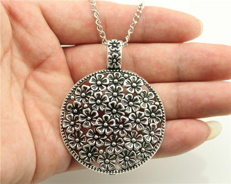 WYSIWYG 2 colors antique bronze, antique silver tone round flowers pendant necklace , 70cm chain long necklace