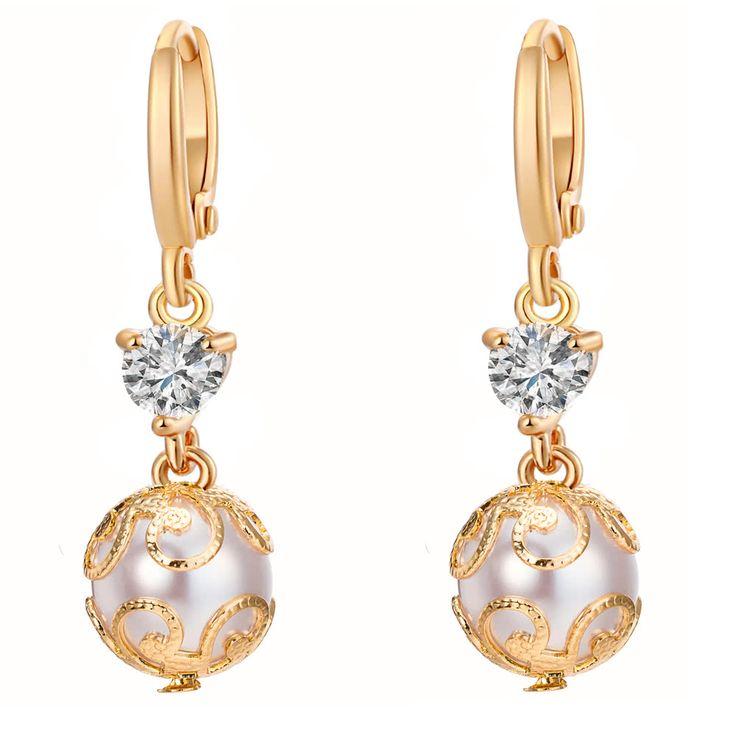 Cheap Fashion Charm Copper Zircon Rhinestone Crystal Earring Ear Drop Online gold   Tomtop