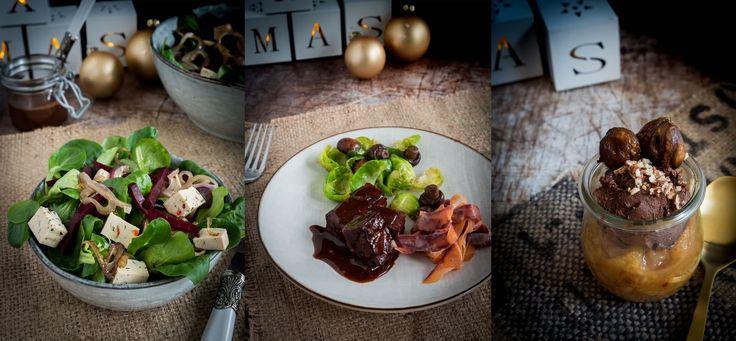 Salat mit Schokoladen-Balsamico Dressing, Ahorn marinierter Tempeh mit Vanille Möhren, Schokoladenmousse mit gebrannten Mandeln, Maronen und Birnenchutney... klingt gut? Dann schau mal rein in mein Weihnachstmenü.