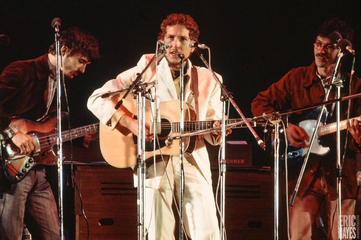"soundsof71: ""Bob Dylan at the Isle of Wight, August 31, 1969, with The Band's Rick Danko and Robbie Robertson, by Eric Hayes """