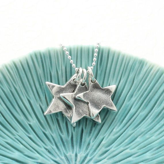 Fingerprint Jewellery Silver Star Cluster by greenriverstudio