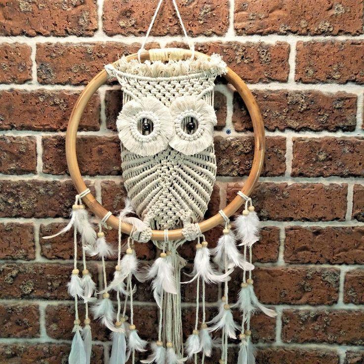 Owl Dreamcatcher Macrame, Handmade 36cm Diameter L 97cm - Stunning,Unique