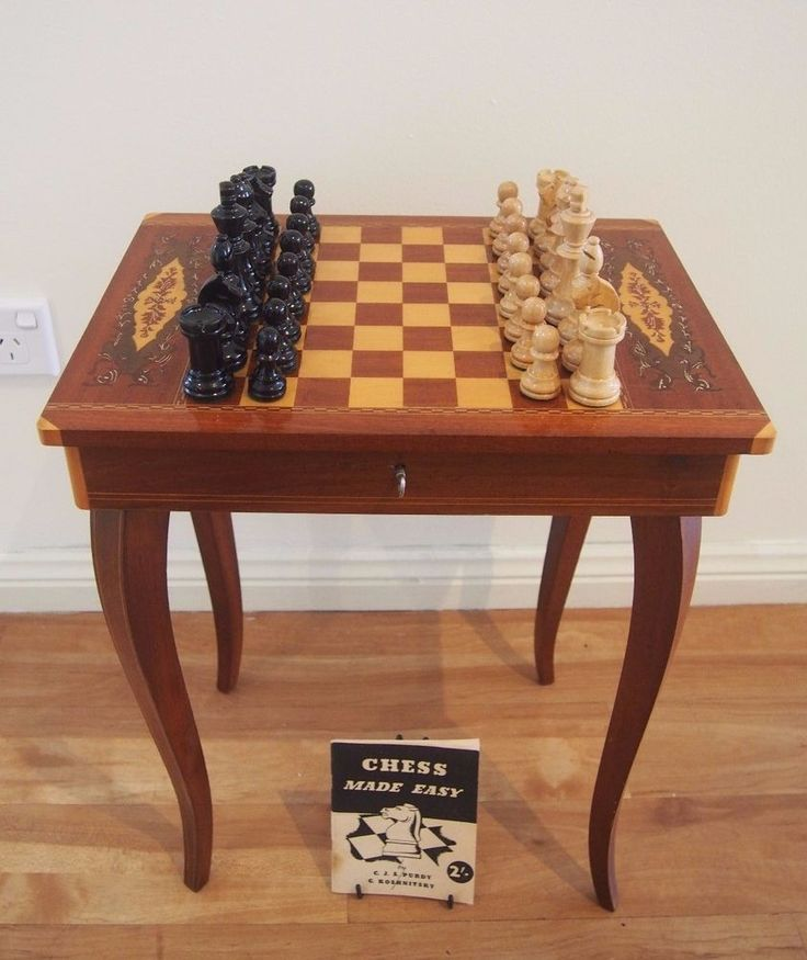 VINTAGE ANTIQUE ITALIANFRENCH STYLE CHESS/SET TABLE MARQUETRY TOP LAMP/SIDE & 10158 best Collecting Chess Sets images on Pinterest | Chess games ...