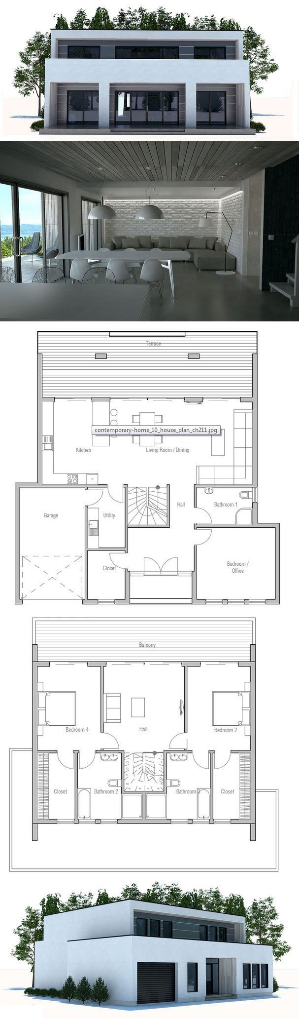 Modern Contemporary House Design to small lot. Floor Plan ConceptHome.com