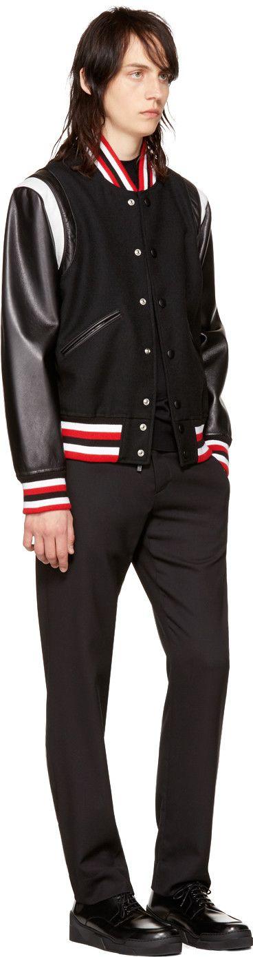 Givenchy - Black Wool & Leather Bomber Jacket
