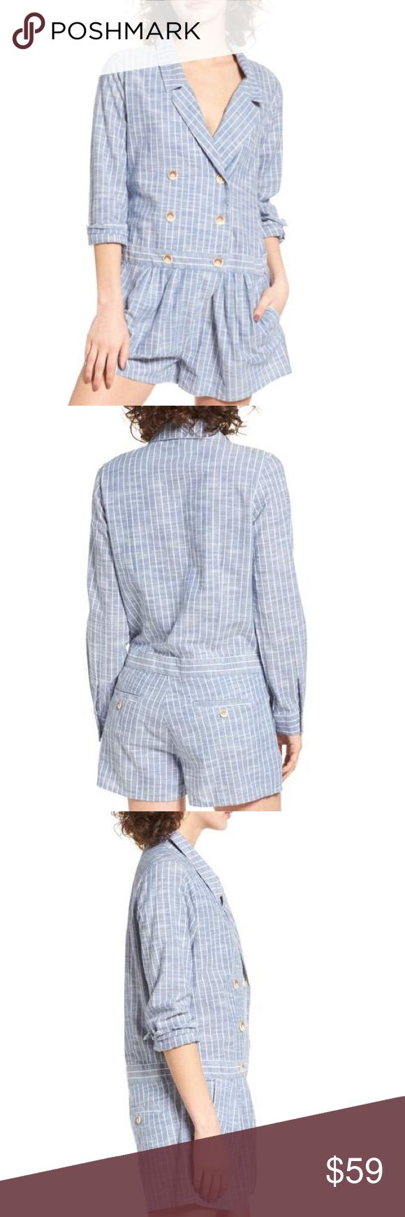 ✨ Obey linen pinstripe fair trade romper M L Brand new with tags, authentic Obey by Shepard Fairey linen-style pinstripe Sanders romper, junior sizes M & L available. Really cute and easy to throw on and have a polished look. Blue woven material with long sleeves that button at cuff (wear down or rolled up), double breasted button effect with a v-neckline. 100% fair trade. Check out my other listings to bundle and save! Make me an offer... Obey Dresses Long Sleeve