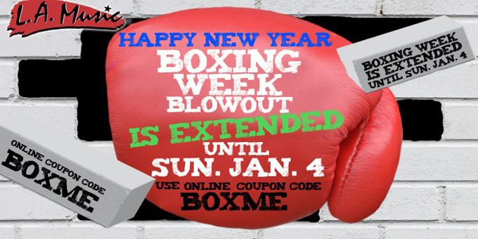 Boxing Week deals are on for 2 more days at LA Music for online and in-store sales