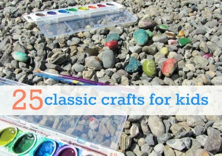25 classic crafts for kids - newspaper pirate hate, pasta necklace, handprint butterflies, and many more!
