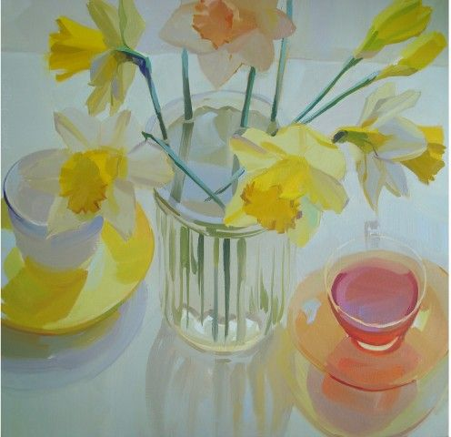 daffodils, spring, fresh, light, glass, still life, transparent, flowersfloral, cool, sunlight/Karen O'Neil: