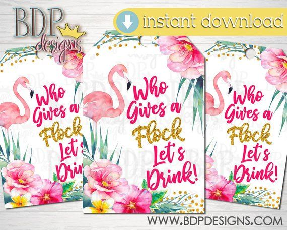 image 0 flamingo baby shower party favor tags party favors bridal shower party