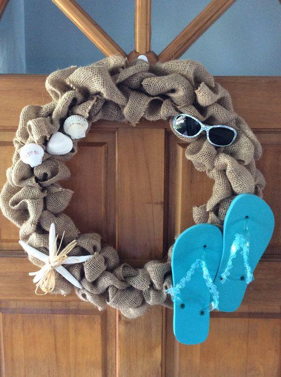 Burlap Wreath-Flip Flop Wreath-Beach by KelleysBeachDecor on Etsy