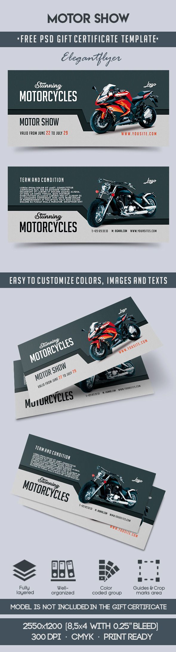 motor show free gift certificate psd template