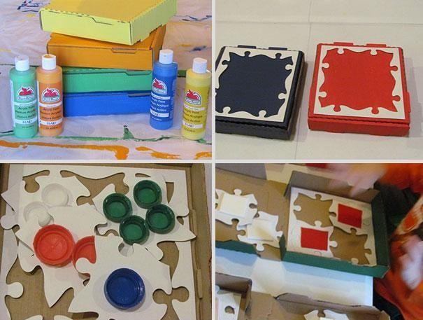 Riciclo scatole di pizza, giochi per bambini