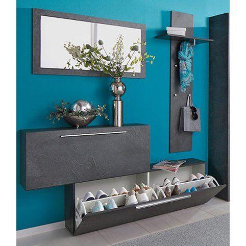Ensemble vestiaire range-chaussures + porte-manteaux + miroir Lisboa - Décor gris ardoise- Vue 1