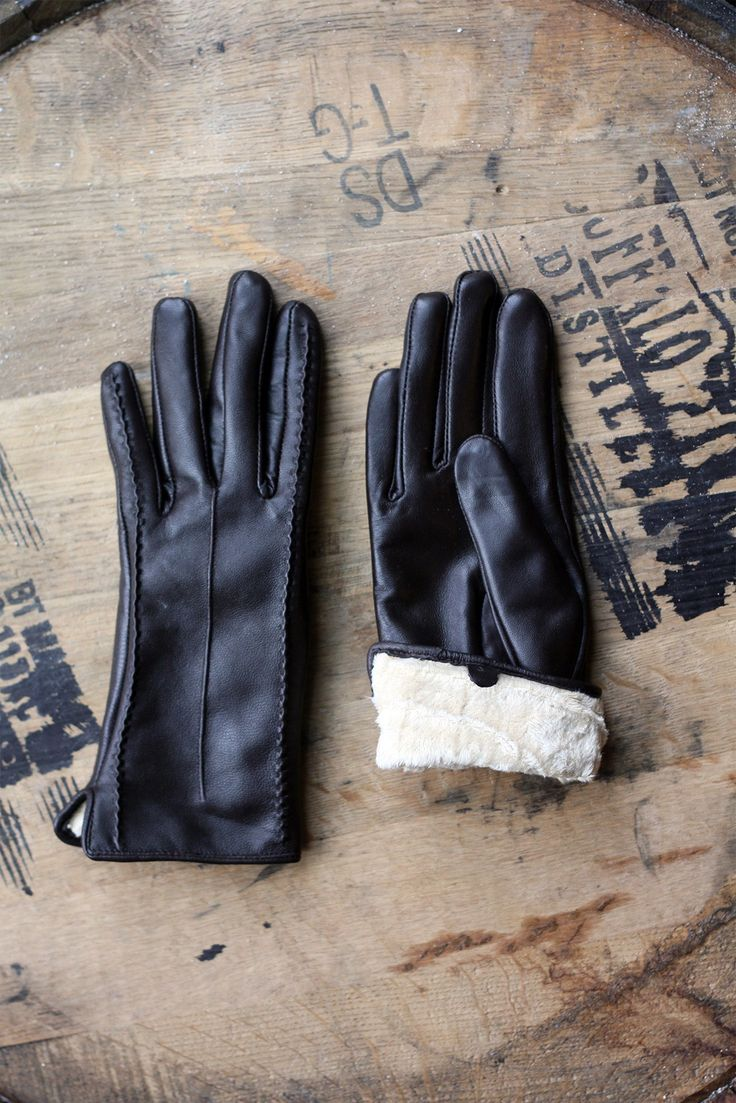 Ladies coloured leather gloves - Fur Lined Leather Gloves Slightly Longer Then Normal Length Ladies