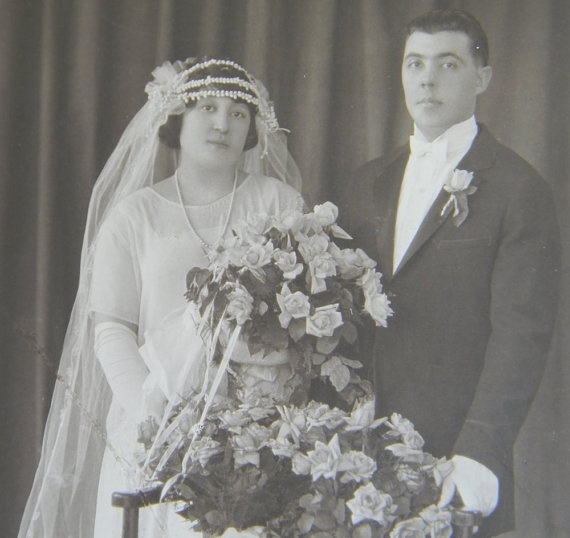 Wedding Photo Early 1900s Long Veil Gloves Pearls Paterson New Jersey