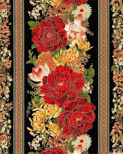 Imperial Garden - Flowers for the Empress Stripe - Black/Gold