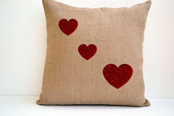 Burlap Pillow cover with red heart Decorative heart by AmoreBeaute