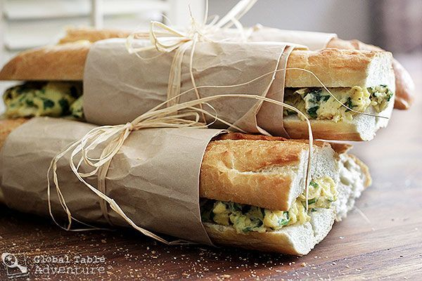 Perfect back to school breakfast! Toasted Baguette Sandwich with Spinach Scrambled Eggs