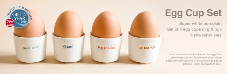 """what came first, the chicken or the egg?"" egg cups: Boiled Egg, Houses Everyday"