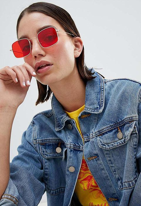 19154649cd1c9 30+ Popular Sunglasses Outfits Inspiration . Fashion yellow T-shirt +jean  jacket . Metal picture frame red eyeglass classy chic sunglasses.