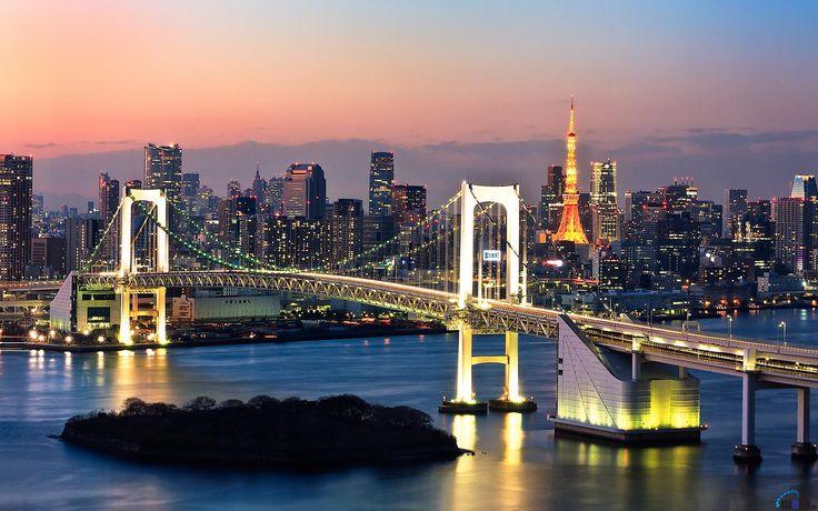 Обои для рабочего стола Радужный мост ночью, Токио, Япония