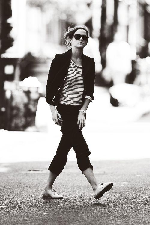 Emma Watson // blazer, striped top, cropped pants & oxfords #style #fashion #celebrity