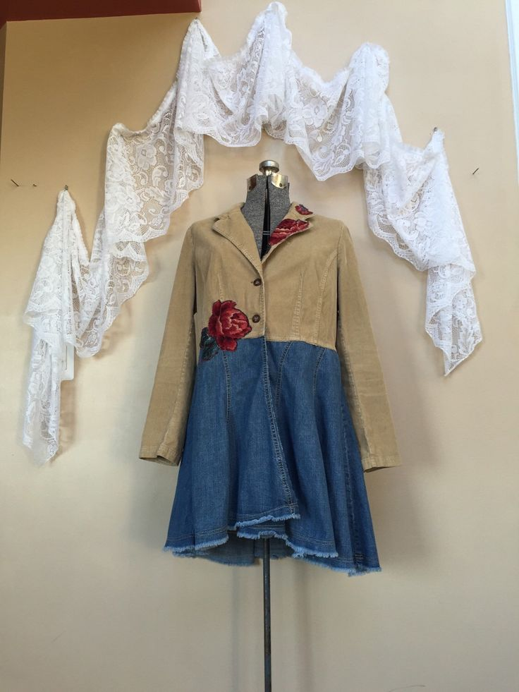 A personal favorite from my Etsy shop https://www.etsy.com/listing/273792420/upcycled-jacket-shabby-chic-jacket-red