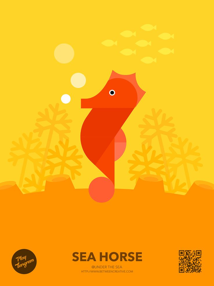 Marine organism Education puzzle_Sea horse #PlayTangram #Colorful #Modern #Minimal #Puzzle #Learning #Flat #ios #iphone #Nature #Children