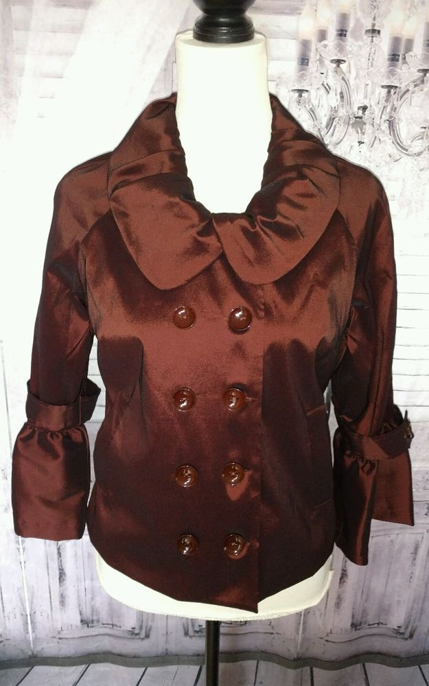 Samuel Dong Chocolate Burgandy Ladies Dressy Jacket Small NWT #SamuelDong #Dressyjacket #Evening