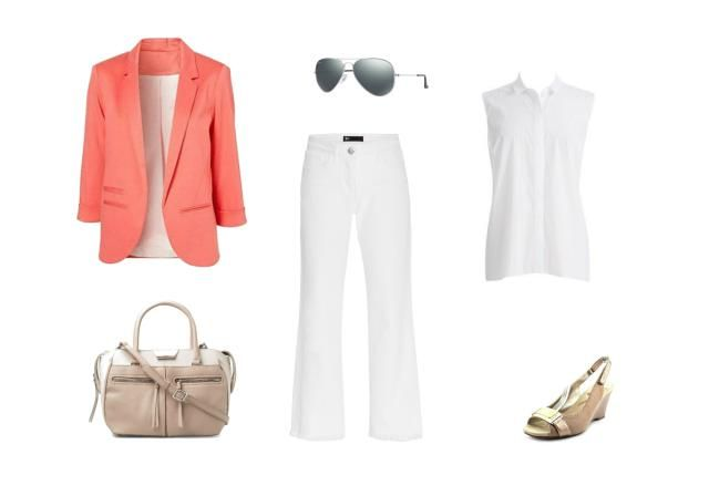 Summer Office Style - 8 Chic Outfits With White Jeans: Wear a Pink Blazer Over White Jeans