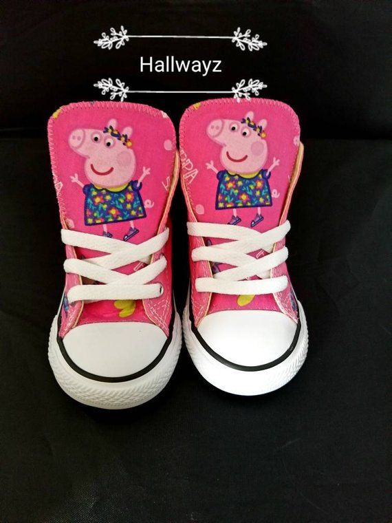 2146078f3ff Girls pink peppa pig custom Converse shoes for birthday party