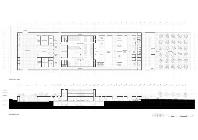 Ground floor plan and longitudinal section of the competition for the Conservation and Storage Facility for the Louvre Museum of Lièvin by Campo Baeza and Gabrion. Courtesy of Estudio Campo Baeza. Click above to see larger image.