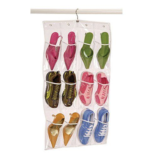 Richards Homewares Clear Pocket 12 Shoe Caddy with Hanger (Clear) (Fabric)