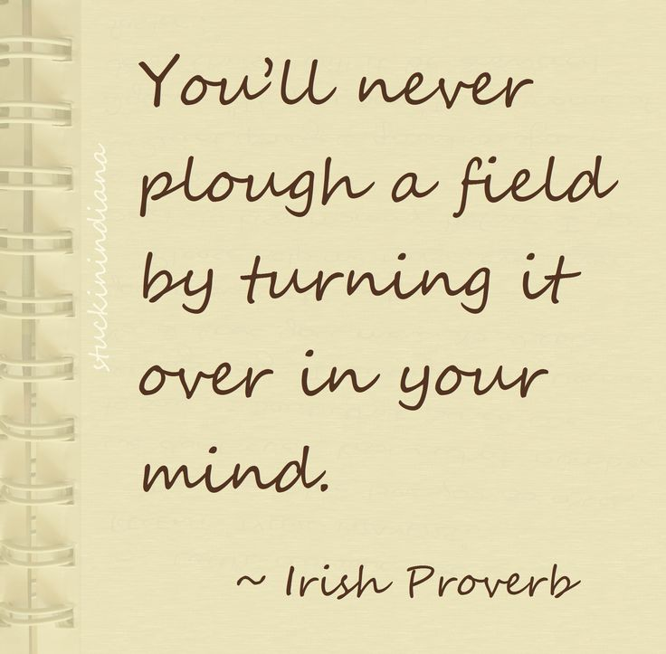 """""""You'll never plough a field by turning it over in your mind."""" ~ Irish Proverb"""