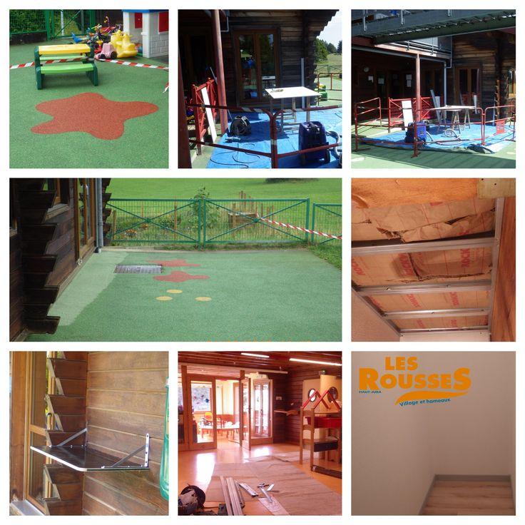 Suite et fin des travaux d'été à la crèche (remise en état de l'air de jeux en surface souple, création et isolation d'une cage d'escalier, mise en place de nouveaux mobiliers, …)