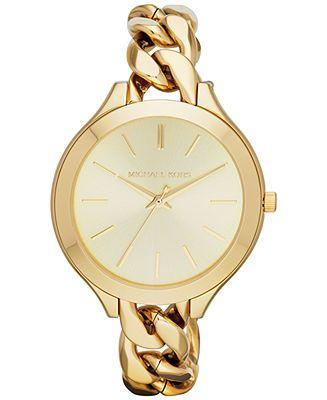 Michael Kors Watch, Women's Slim Runway Gold-Tone Stainless Steel Bracelet 42mm MK3222 - Watches - Jewelry & Watches - Macy's