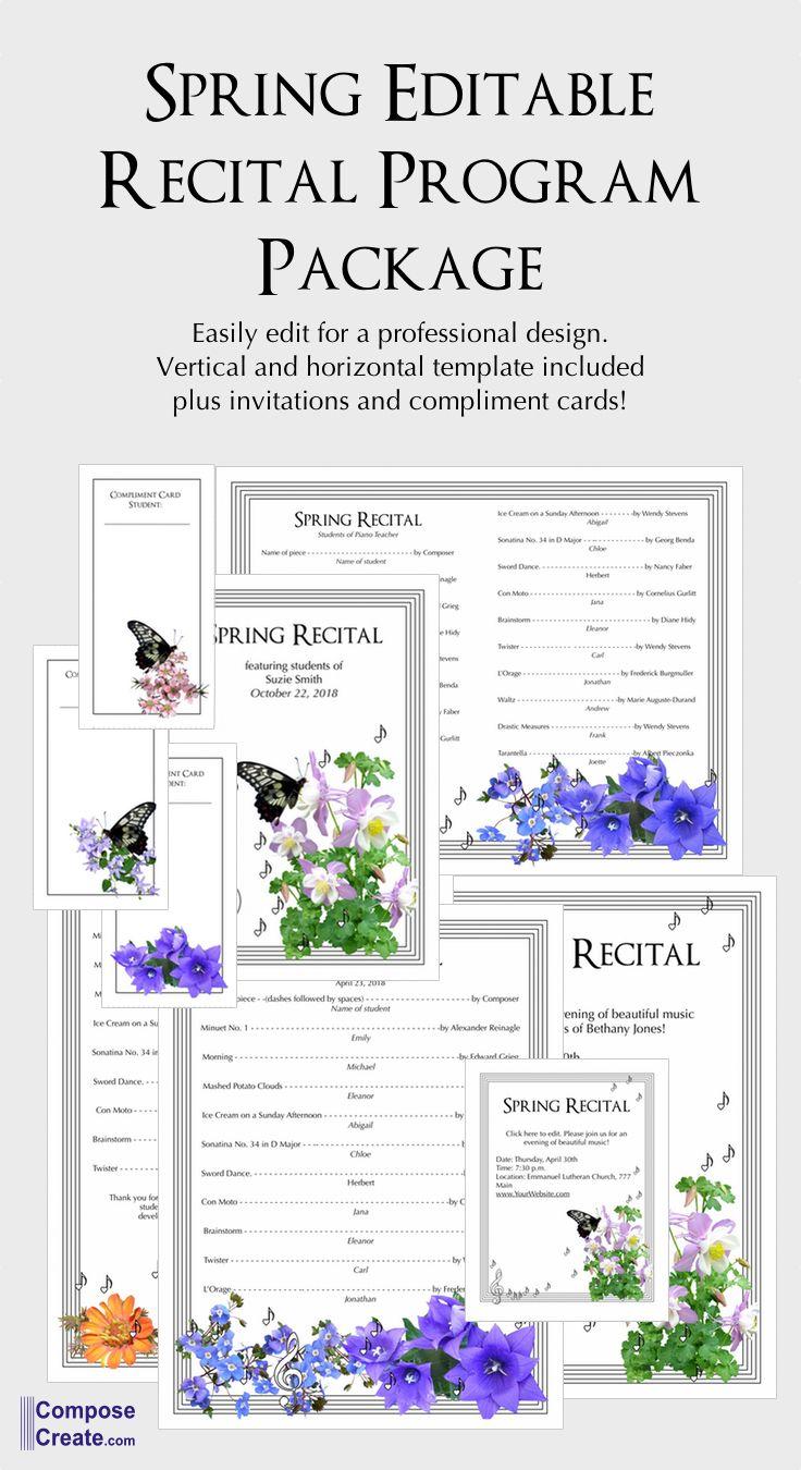 Editable Recital Program Package Spring Recital Programs