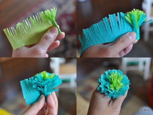 Crepe Paper Flowers--no glue, no sew!