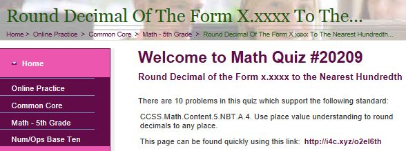 """This is an image from this resource on the Internet4Classrooms' """"Fifth Grade Interactive Math Skills - Decimals"""" resource page:    Round Decimal of the Form x.xxxx to the Nearest Hundredth.    Online quiz that is self checking"""