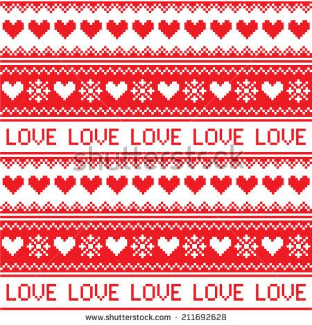 Nordic, winter love seamless red heart pattern  by RedKoala #love #valentinesday