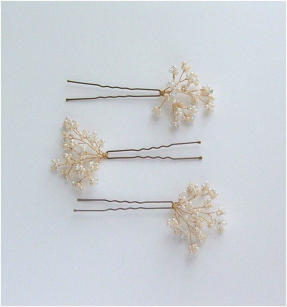 Babys Breath Wedding Hair Pins Bridal Hair by LittleWillowandCo