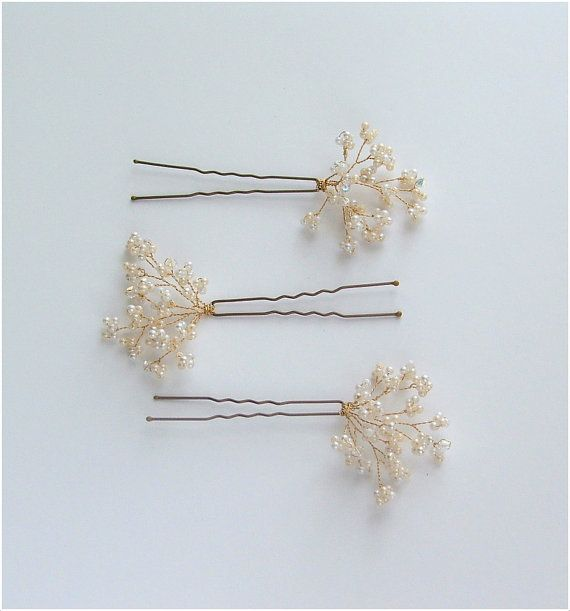 Babys Breath Wedding Hair Pins Bridal Hair by LittleWillowandCo